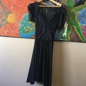 BETSEY JOHNSON BLACK LACE RETRO 1940'S DRESS L